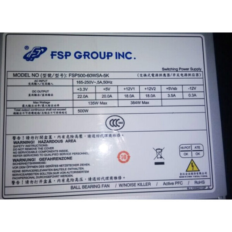 Power Supply for FSP FSP500-60WSA-5K